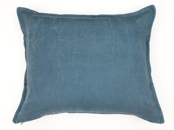 Kussenhoes met platte piping en rits gemaakt van groen/blauwe stonewashed 100% linnen stof 50x60cm