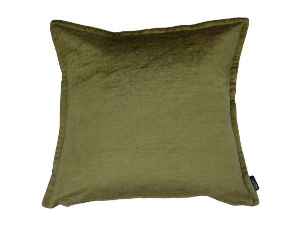 Kussenhoes met platte piping en rits gemaakt van prachtige groene velours stof, 50x50cm