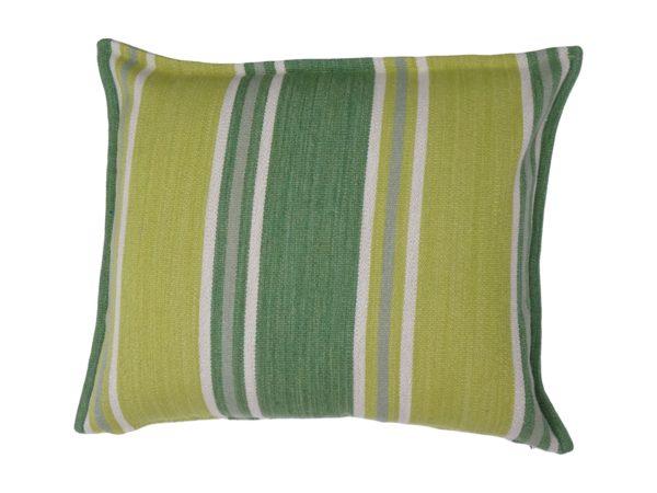 Kussenhoes met platte piping en rits, gemaakt van geweven groen/wit gestreepte wollen stof, 50x60cm.
