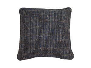 Kussenhoes met platte piping en rits gemaakt van blauw/goud/geel/zwart geweven stof, 45/45cm.