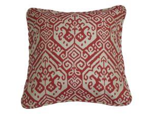 Kussenhoes met ronde piping en rits, gemaakt van rood/witte (off white) jacquard geweven stof, 50/50cm.