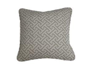 Kussenhoes met ronde piping en rits gemaakt van grijs/witte stof met motief , 45x45cm.