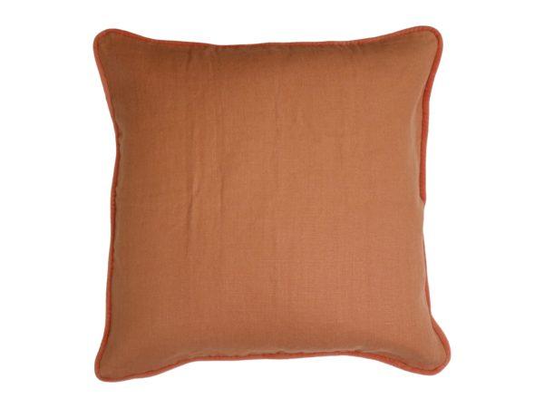 Kussenhoes met ronde piping en rits, gemaakt van 100% oranje linnen stof, 55/55cm.