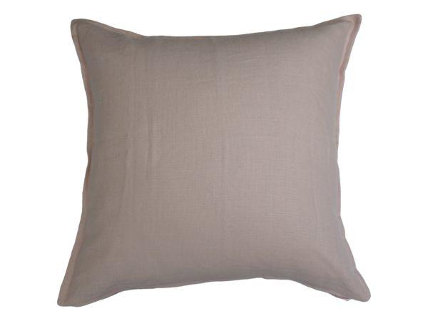 Kussenhoes met platte piping en rits, gemaakt van 100% roze linnen stof, 55/55cm.