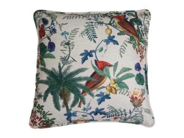 Kussenhoes met ronde piping en rits, gemaakt van wit/groen/oranje/blauw/ velours stof met vogels/bloemen/bladeren motief, 55/55cm.