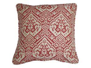 Kussenhoes met ronde piping en rits, gemaakt van rood/witte (off white) jacquard geweven stof, 55/55cm.