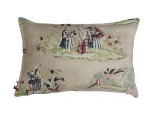 Kussenhoes met platte piping en rits, gemaakt van nude/rood/groen/celadon 100% linnen stof met chinees toile patroon, 40x60cm.