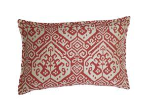 Kussenhoes met platte piping en rits, gemaakt van rood/witte (off white) jacquard geweven stof, 40x60cm.