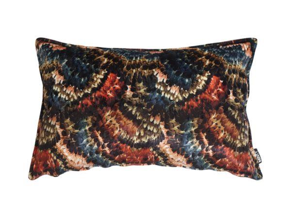 Kussenhoes met platte piping en rits, gemaakt van rood/goud/groen/blauwe velours stof, 40x60cm.