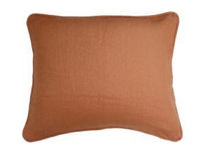 Kussenhoes met ronde piping en rits, gemaakt van oranje 100% linnen stof, 50x60cm.