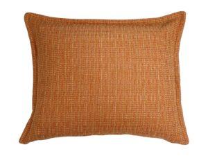 Kussenhoes met platte piping en rits, gemaakt van geweven oranje gemêleerde stof, 50x60cm.