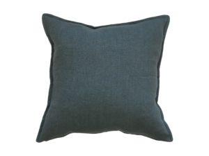 Kussenhoes met platte piping en rits gemaakt van groen/blauw 100% stevig linnen stof 50x50cm.