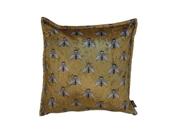 Kussenhoes met platte piping en rits gemaakt van goud velours stof met bijtjes, 45x45cm.