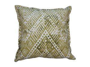 Kussenhoes met platte piping en rits gemaakt van groen/witte stof met ikat motief, 55/55cm.