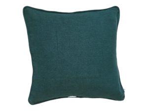 Kussenhoes met ronde piping en rits gemaakt van helder groen 100% stonewashed italiaans linnen , 55x55cm.