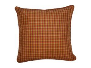 Kussenhoes met ronde piping en rits gemaakt van oranje geruite zijde, 55x55cm.