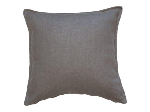 Kussenhoes met platte piping en rits, gemaakt van grijs 100% linnen stof stof, 55/55cm.