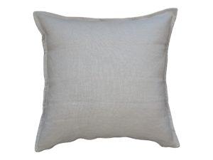 Kussenhoes met platte piping en rits, gemaakt van zachtbeige 100% linnen stof stof, 55/55cm.