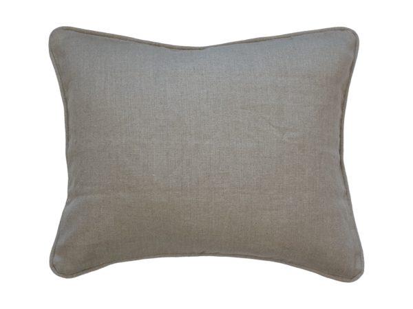 Kussenhoes met ronde piping en rits, gemaakt van beige/grijs 100% linnen stof, 50x60cm.
