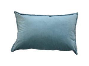Kussenhoes met platte piping en rits, gemaakt van blauwe velours stof, 40x60cm.