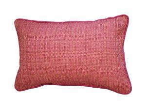 Kussenhoes met ronde piping en rits, gemaakt van roze/groen/oranje gemêleerde stof, achterkant roze 100% linnen, 40x60cm.